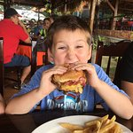 Javi enjoyed his burger and it looked better than the lechon.