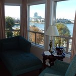 Daytime Bed and the view at the Hotel Grand Pacific, Victoria, BC