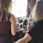 My husband and daughters checking out some of the equipment on the train.