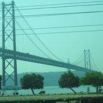 A marvelous picture of the 25th April Bridge which resembles the Golden Gate Bridge of San Franc