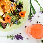 Delicious summer salad with edible flowers
