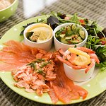 Seafood sharing platter with locally smoked salmon