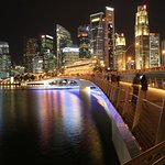 Night photography on the waterfront, back ground is the Bussiness district, Raffles Place.