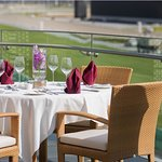 Terrace with views of the Dubai Racecourse