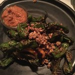 Appetizer: grilled peppers with hazelnuts