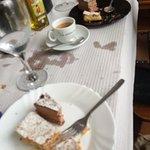 Desserts: Santiago Cake and Chocolate Mousse Cake