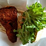 Porky's Crispy and Spicy Fish Sandwich on Cibatta Bread