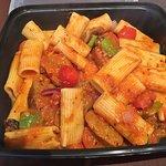 Spicy Chorizo Rigatoni at Coffee Warehouse-Vicky Damour's Bakery, Timmins ON
