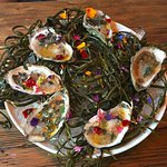 Gorgeous oysters with edible flowers