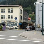 Historic downtown Juneau. Narrow streets, towering mountains, beautiful cascades.