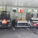 Golf carts for guest use around town.