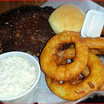 Great Baby Back Ribs with Slaw and Onion Rings