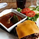 Mexican Soup and Bison Burger