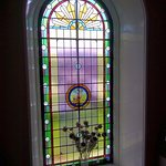 beautiful stain glass window in the hall