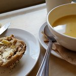Really tasty soup and roll