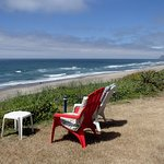 Backyard, chairs, and view (Cascade Head in the distance)