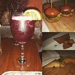 red hot sangria with mini burgers, samosas and won ton