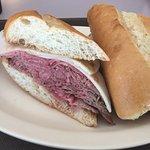 Meaty beef dip sandwich