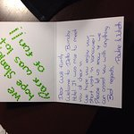 Handwritten card from some of the staff - amazing service