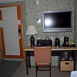 door to room-desk-foot of bed