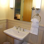 bathroom sink and small table