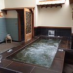 The hot tub in our private suite