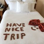 Decorated beds with greetings the night before you leave...