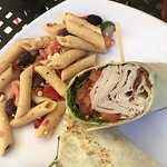 my turkey bacon ranch wrap with a meditteranian pasta salad side