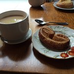 Cup of Early Grey and a fresh baked Palmier