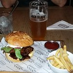 Craft beer and Pulled pork burger