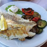 Grilled sea bass with zuccini and egg plant. One of the main dishes offered here.