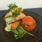 Tassie Atlantic Salmon with stuffed tomato & vegetables