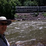 Great views from the riverside--the river, rafters, the train
