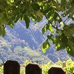 Aussicht auf das Rosengarten Massiv und auf Schloss Karneid