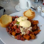 Corned Beef Hash with poached eggs Benedict