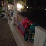No clothes racks - Clothes hung on railings
