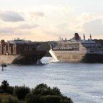 Container Riesen und Kreuzfahrtschiff auf der Elbe