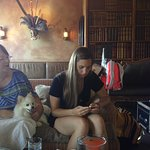Waiting for our room to open while we eat lunch. Yes, the dog was with us as we ate.