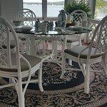 Breakfast nook by lake