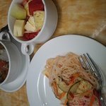 noodle salad, soto bandung and fruit