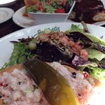 Lobster and shrimp sandwich , open steak sandwich