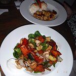 grilled veggie salad and scallops