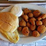 Grouper Sandwich and Mushrooms