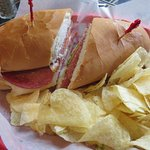 Toasted Italian Submarine Sandwich and Chips
