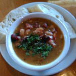 Pinto beans with panchetta soup