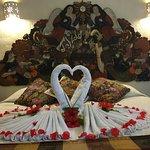 la recepcion en la habitacion, un par de cisnes floridos wow