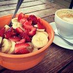 Moon Bowl (Acai bowl) and a cappuccino (large)