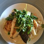 Pea and prawn risotto with Seabass and pan fried scallops. Fantastic!