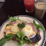 delicious eggs Benedict and fresh squeezed grapefruit juice.