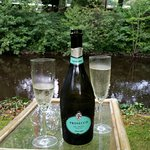 A glass of fizz in the garden
